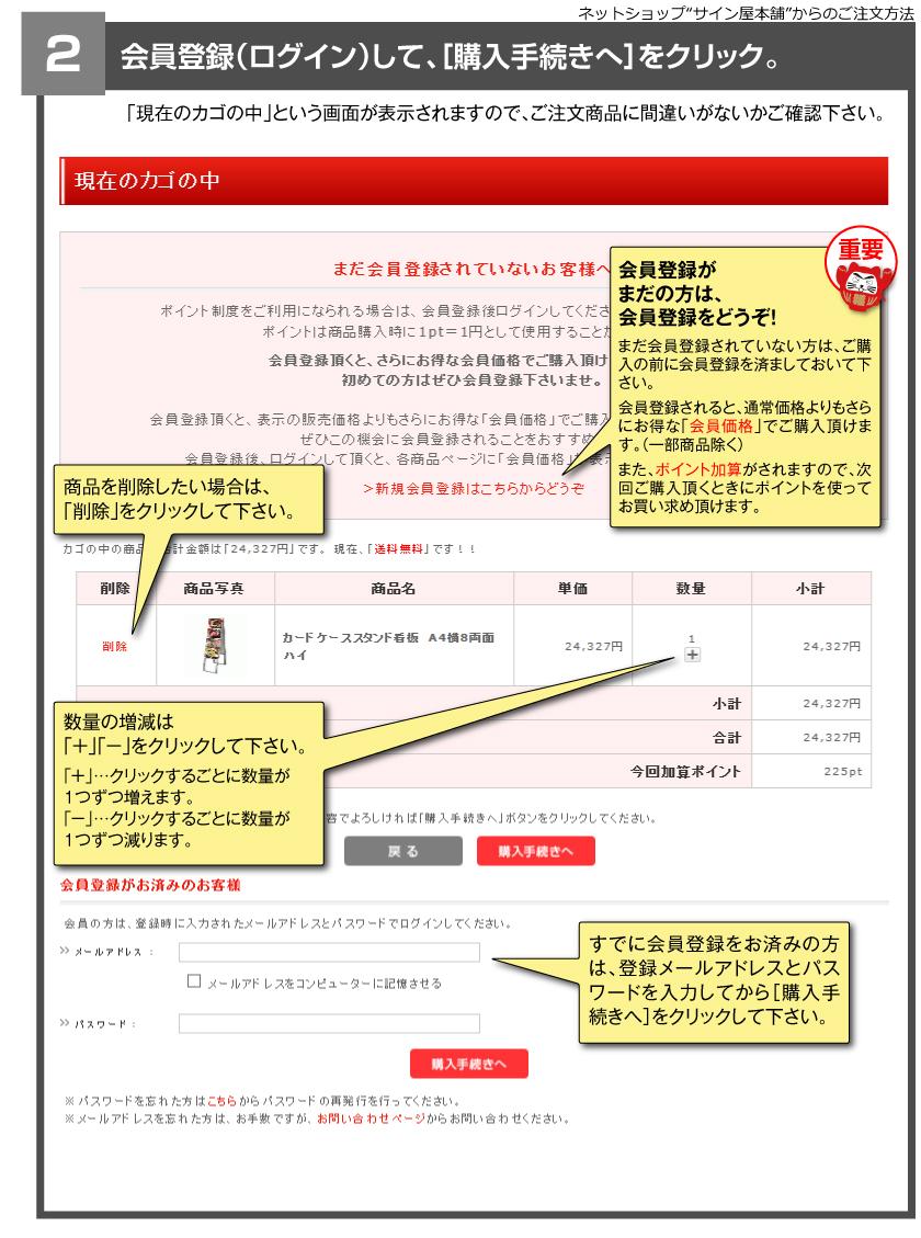 ネットショップ サインや本舗からのご注文方法 2